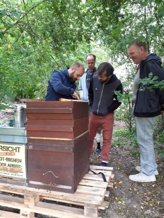 Zuschauen ausdrücklich erlaubt: Imker Victor Hernández stellte die beiden Bienenvölker im Garten der Gustav-Heinemann-Wohnanlage auf. Foto: Daniela Hanne
